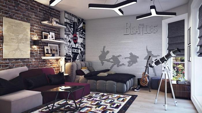 deco-chambre-ado-garcon-en-gris-anthracite-decoration-tapis-coloré-sol-en-parquet-clair