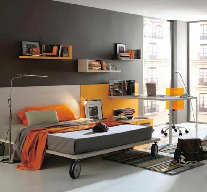 deco-chambre-ado-garcon-mur-gris-et-orange-idee-deco-chambre-adulte-chic