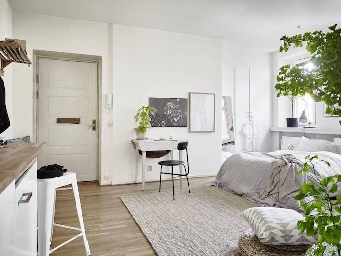 cuisine blanche et bois ouverte sur chambre à coucher gris et blanc avec deco de plantes vertes en pot