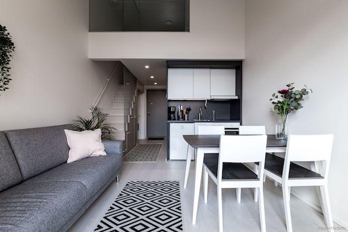 lit mezzanine surélevé au dessus d une kitchenette studio ouverte sur salle à manger noir et blanc, canapé gris, tapis noir et blanc