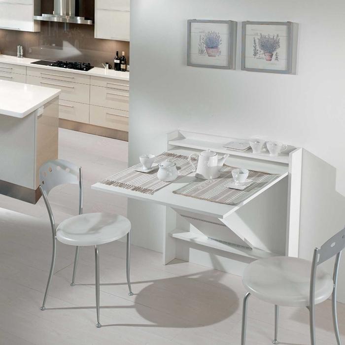 deco cuisine blanche table convertible console mobilier gain place design interieur moderne amenagement petite cuisine