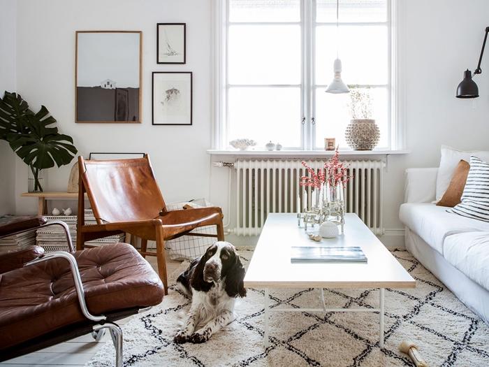 deco style scandinave petit salon amenagement meuble espace limite table basse chaise bois cuir plante verte feuille monstera