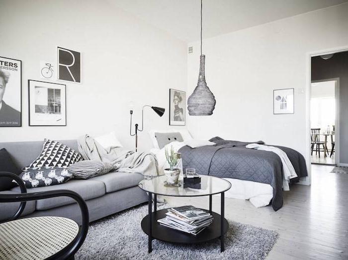 amenagement petit espace studio avec salon chambre à coucher deux en un, tapis gris sur sol parquet bois gris, mur décoré de cadres noir et blanc