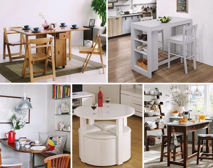 decoration interieure moderne amenagement salle a manger avec table gain place rabattable meuble fonctionnel