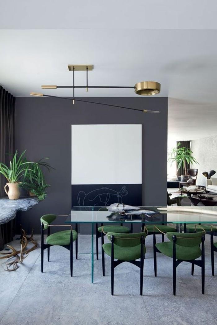 decoration-salle-a-manger-chaises-vertes-foncés-murs-gris-anthracite-lampe-design