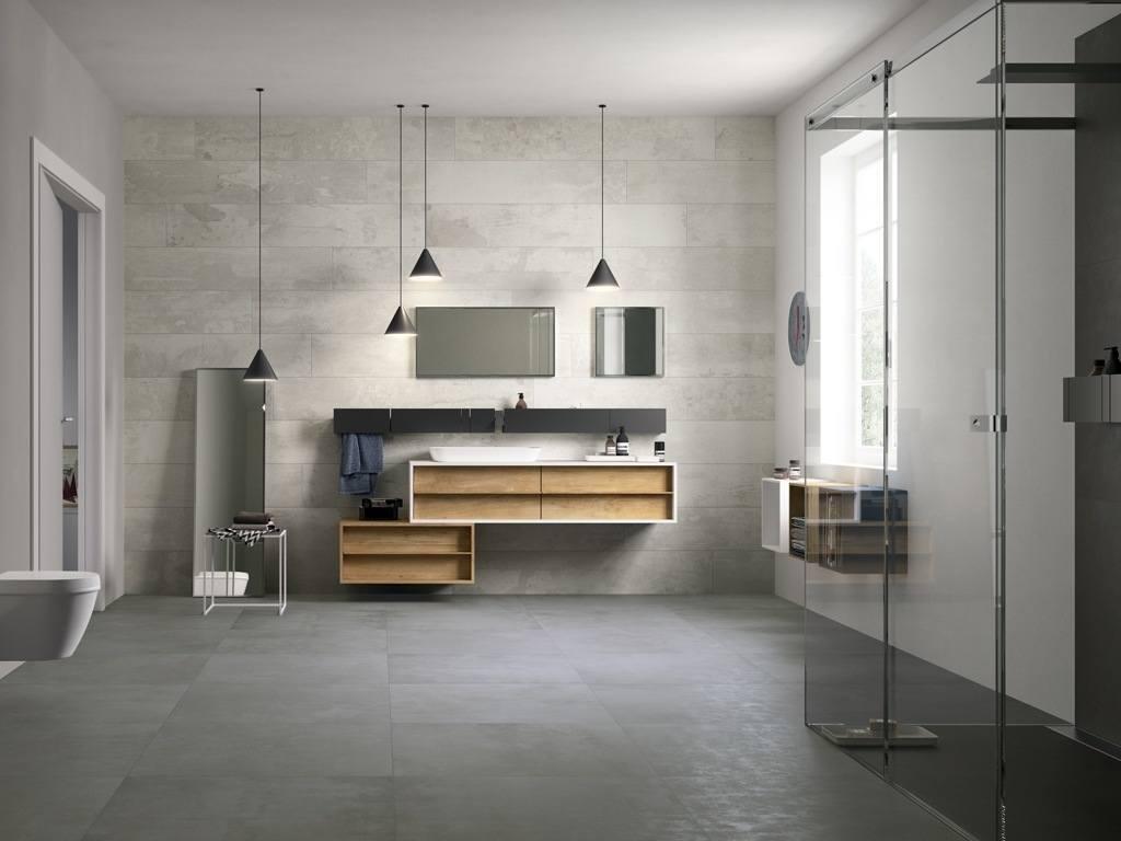 Salle de bain sol noir mur gris for Sol salle de bain