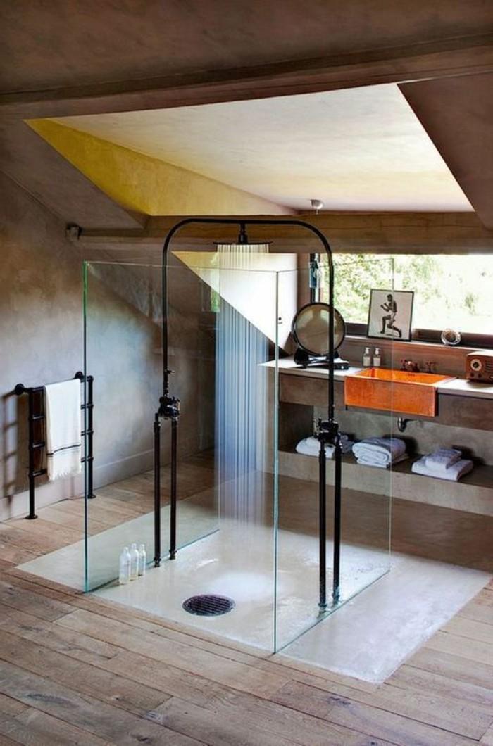La salle de bain avec douche italienne 53 photos for Douche a l italienne sur plancher bois