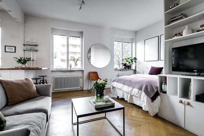 coin sejour canapé gris et table basse noire ouvert sur coin couchage blanc et violet, murs blancs, idée aménagement studio