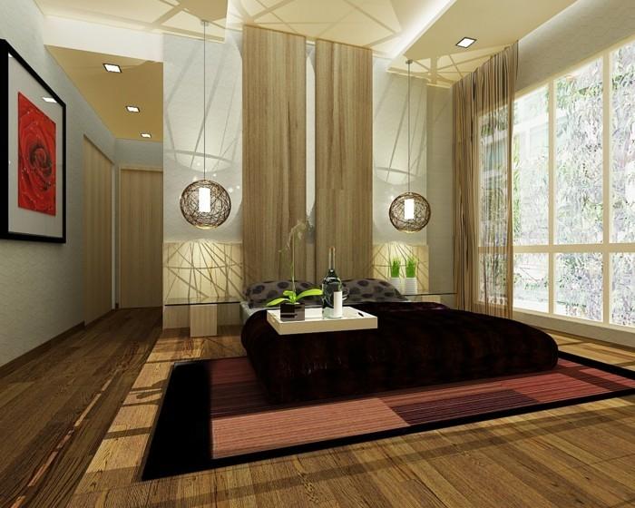 idée-couleur-chambre-adulte-à-coucher-dorée-papier-peint-zen-chambre-blanche-et-grise