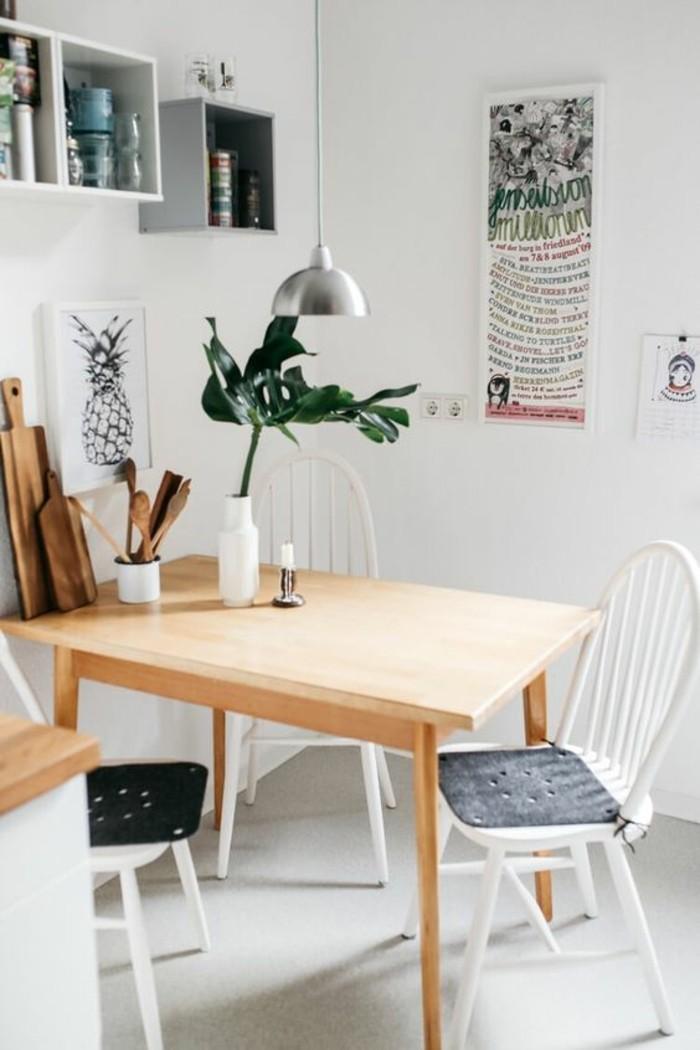 idée-déco-chambre-salle-de-séjour-avec-table-en-bois-clair-chaises-en-bois-blanc