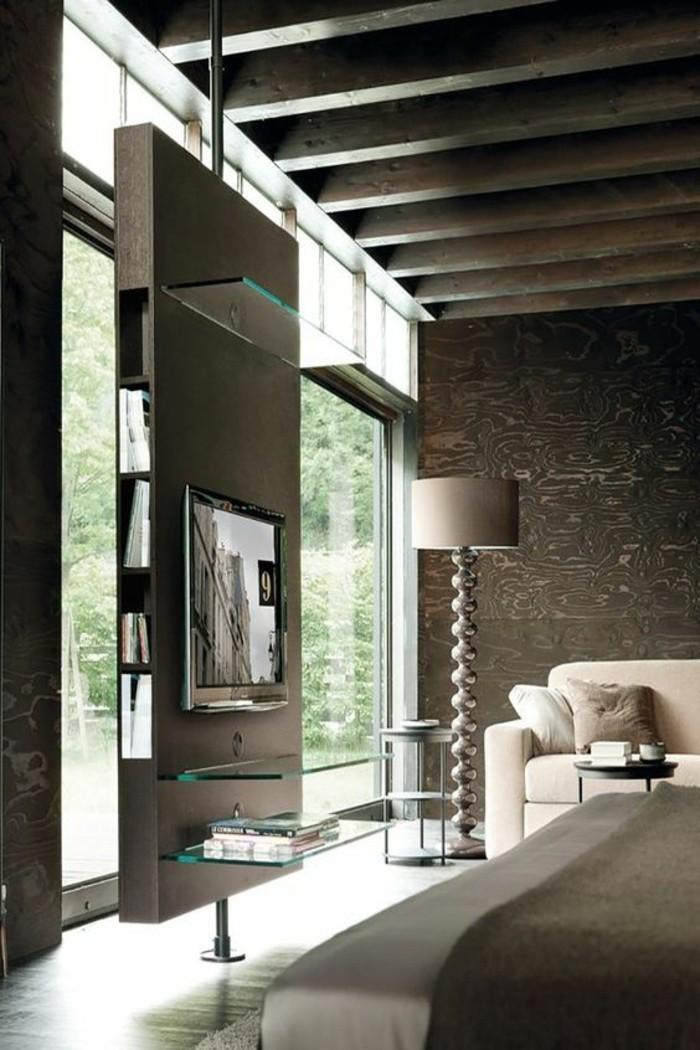 idée-déco-pas-cher-interieur-en-gris-foncé-canape-beige-lampe-de-lecture-dans-le-salon