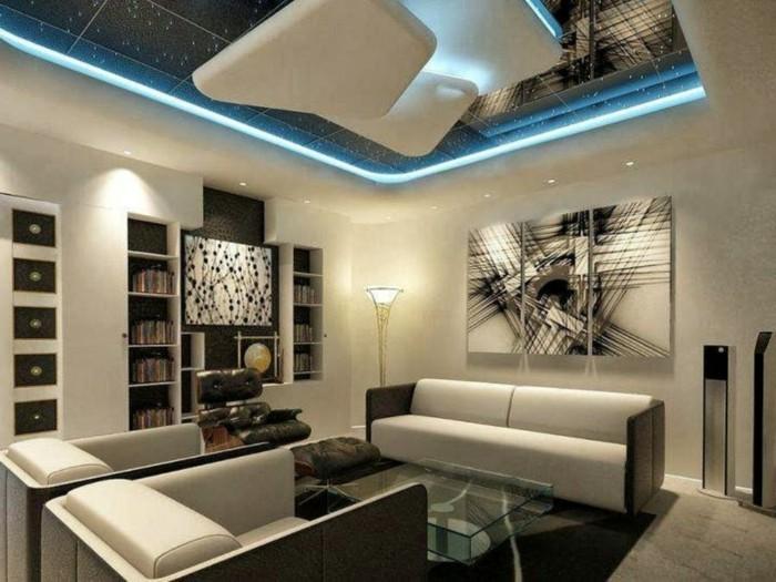 Maison styl e contemporaine l 39 aide de plafond moderne for Deco plafond design