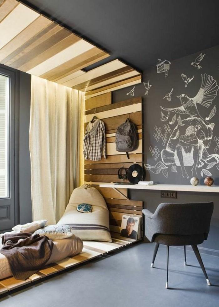 idées-pour-la-chambre-d-ado-en-gris-et-decoration-en-lambris-en-bois-clair