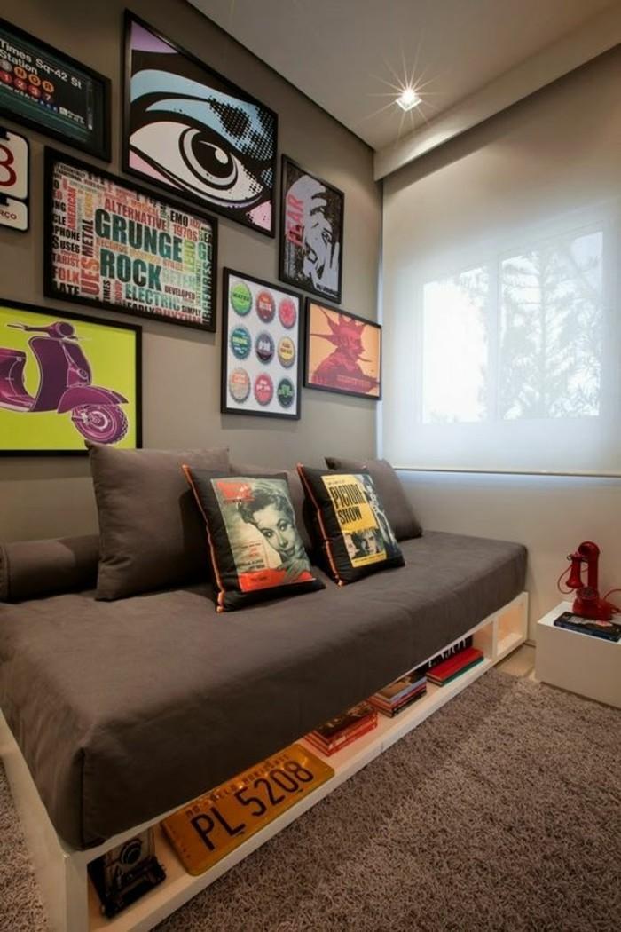 idee-deco-amenagement-chambre-ado-en-marron-beige-couleur-lin-tapis-en-fourrure-marron-tableaux-d-art-sur-les-murs