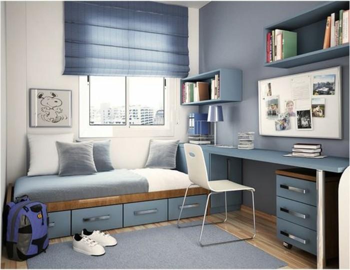 idee-deco-chambre-garcon-en-bleu-foncé-tapis-gris-lampe-chaise-blanche-idee