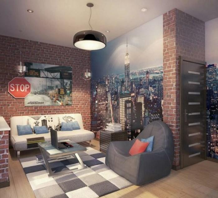 idee-deco-chambre-garcon-tapis-blanc-gris-chaises-grises-mur-briques-rouges-lampe-design