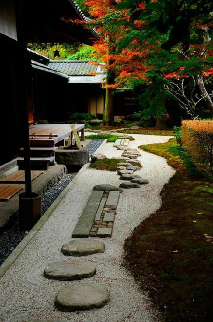 jardin-chinois-gravier-allée-maison-de-style-japonais-pavé-carrossable-pour-le-jardin