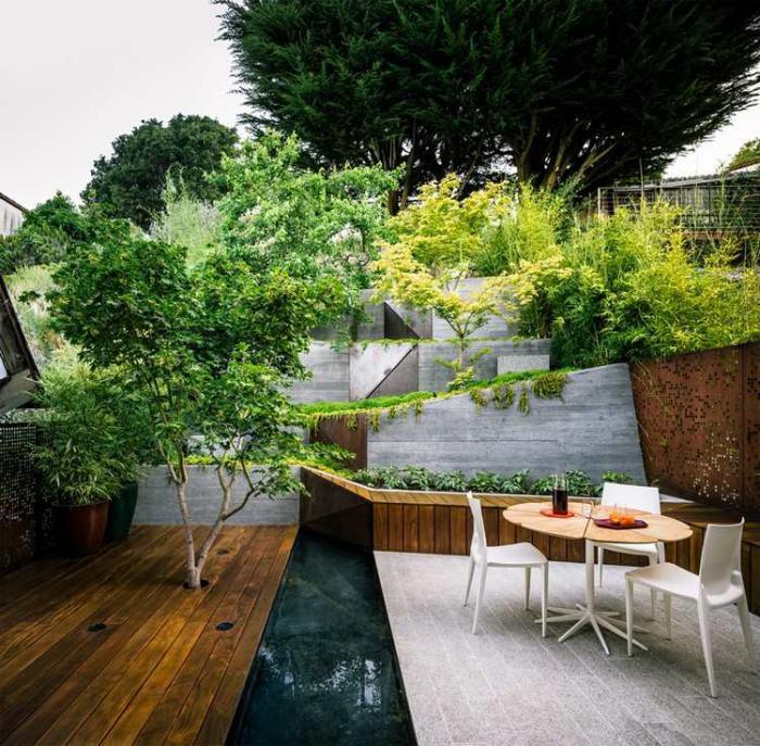Comment avoir un joli jardin en pente jolies id es en photos et conseils pour l 39 am nagement for Jardin paysager contemporain design