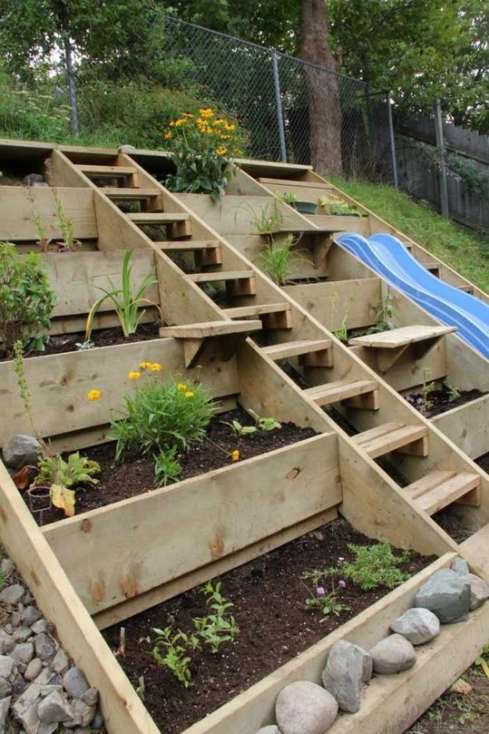 Comment avoir un joli jardin en pente jolies id es en photos et conseils pour l 39 am nagement - Amenagement terrasse jardin en pente tours ...