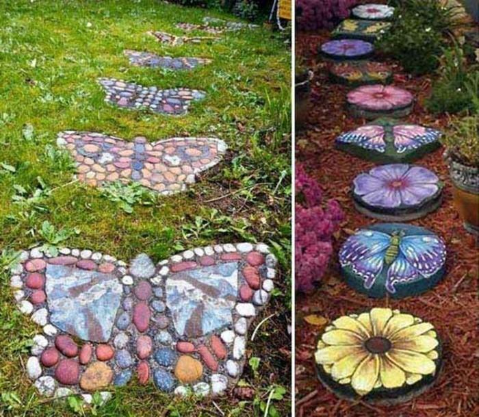 jolie-comment-aménager-son-jardin-extérieur-cool-pierres-décorés