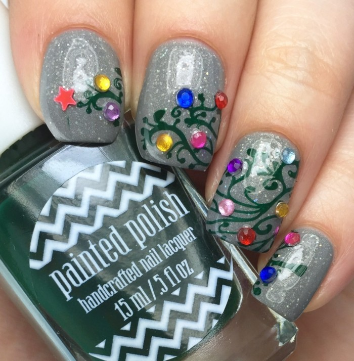 pretty-deco-nails-drawing-on-nail-magnificent-gray