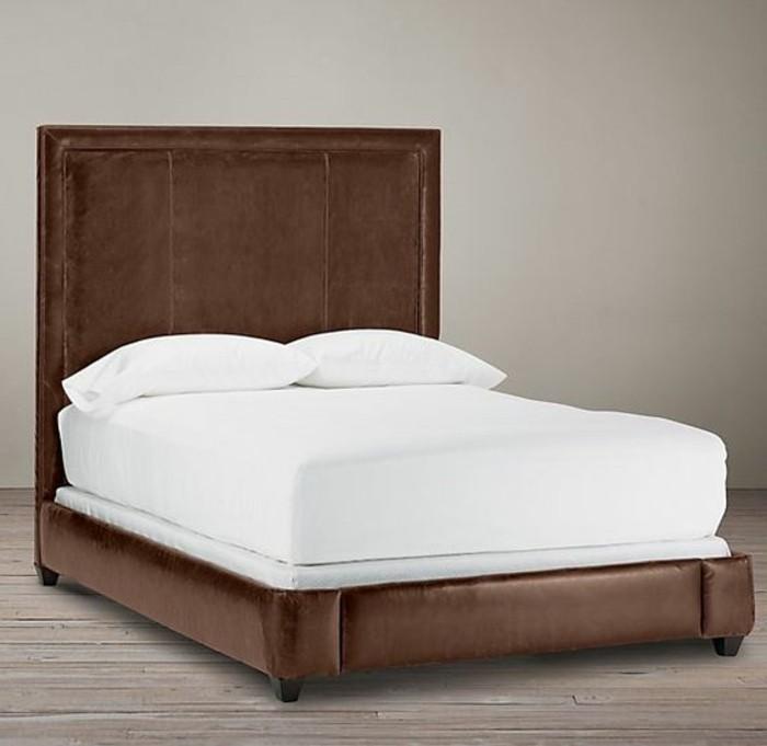 lit-roche-bobois-en-cuir-marron-foncé-comment-meubler-la-chambre-a-coucher