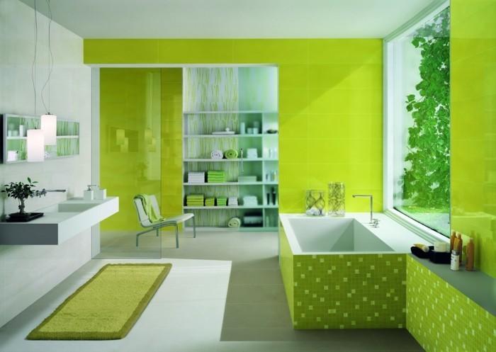 Salle de bain verte et blanc for Carrelage salle de bain vert et blanc