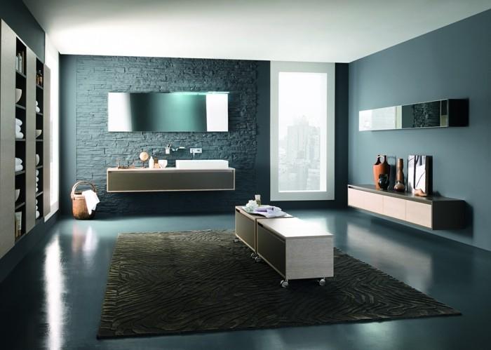 La colonne de salle de bain nos propositions en 58 photos - Salle de bain avec mur en pierre ...