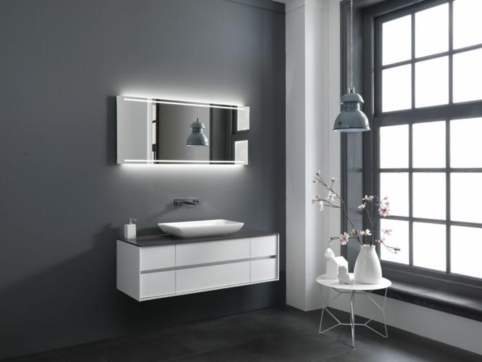 Salle de bain grise et blanche salle de bain ton gris tp - Meuble mural salle de bain ...