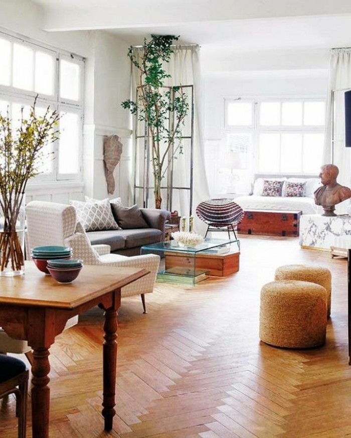 meubler-un-studio-20m2-déco-studio-étudiant-sol-en-bois-clair-meubles-de-salon