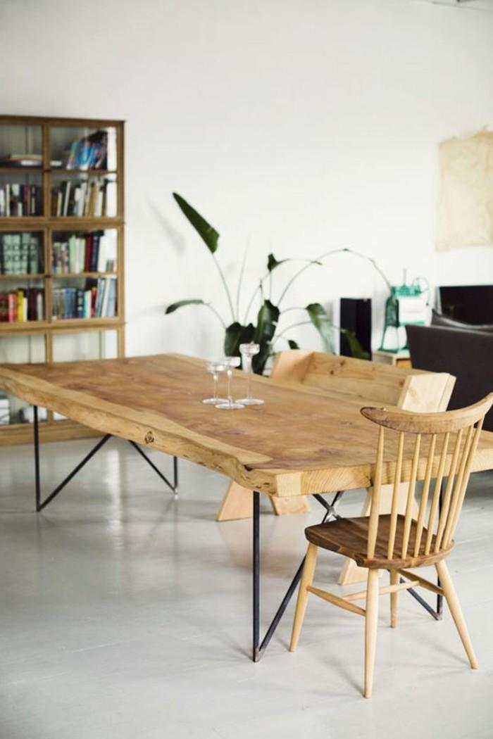 mobiliers-en-bois-clair-déco-salle-à-manger-sol-en-lino-gris-idée-déco-chambre-salle-à-manger