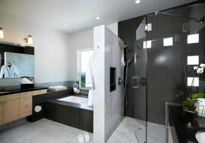 modele douche a l italienne en noir et blanc - Salle De Bain Avec Douche A L Italienne