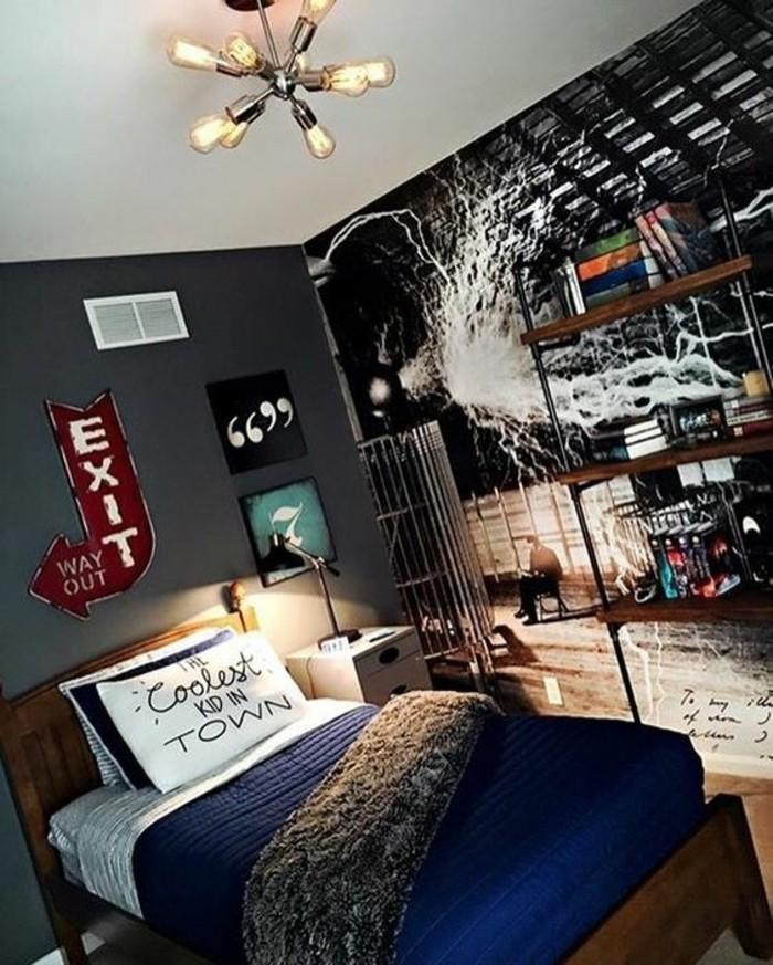 Ordinaire Amenagement Petite Chambre Ado #1: Originale-idee-chambre-d-ado-garçon-couverture-de-lit-en-bleu-foncé-decoration-murs-e1466683148577.jpg