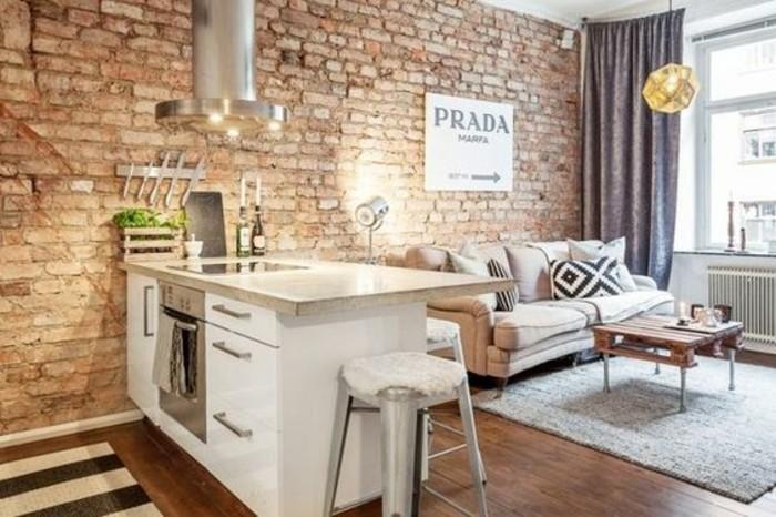 originale-idee-pour-meubler-un-studio-de-petites-dimensions-mur-en-briques-rouges-canape-beige