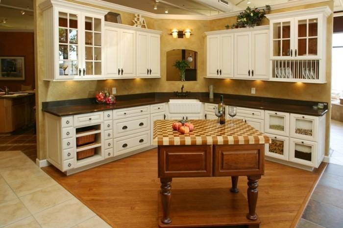 Modele cuisine blanc et bois pr l vement d 39 chantillons et - Modele de cuisine en bois ...