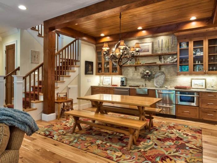plan-cuisine-americaine-placards-bruns-parquet-tapis