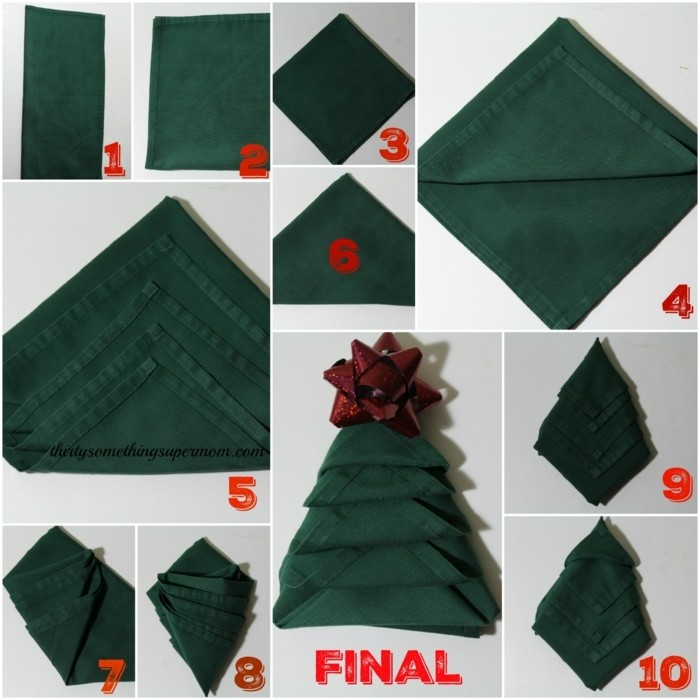 Pliage de serviette facile et original 40 id es - Pliage de serviettes pour noel simple ...