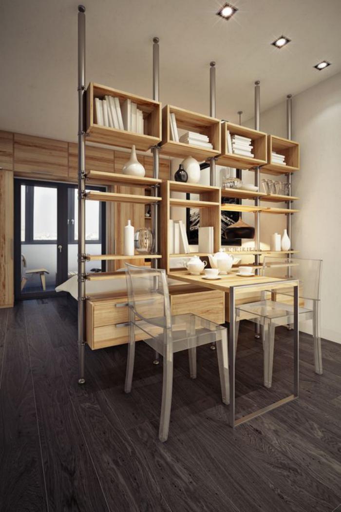 séparation-de-pièce-étagère-pour-diviser-la-chambre
