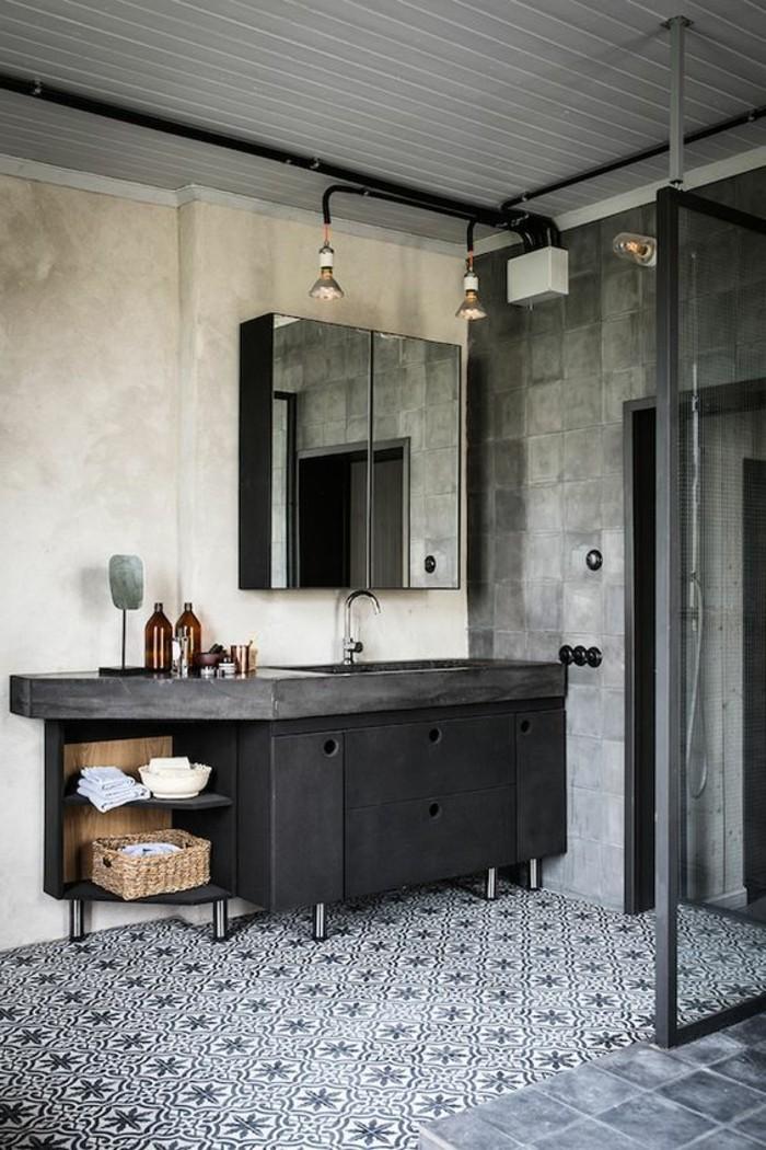 salle-de-bain-anthracite-foncé-carrelage-mosaique-blanc-noir-meubles-industriel-couleur-salle-de-bain-blanc-noir