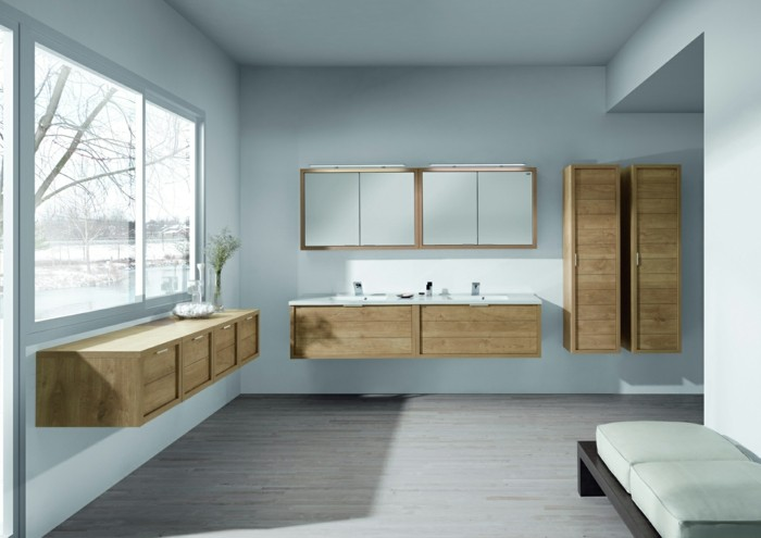 meuble salle de bain bois clair. Black Bedroom Furniture Sets. Home Design Ideas