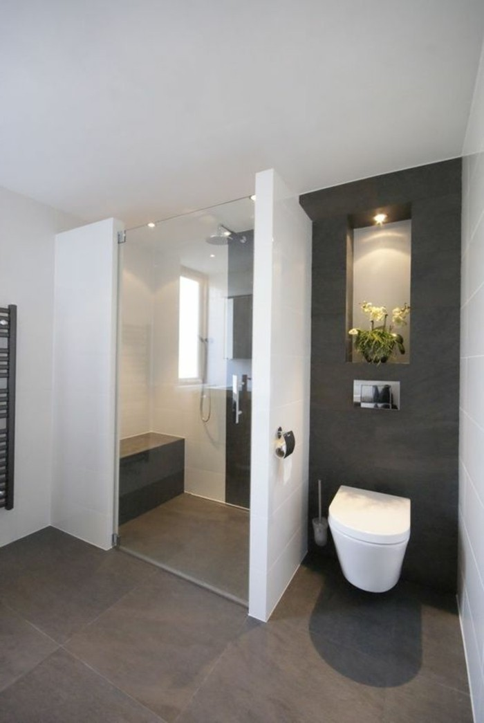 La salle de bain avec douche italienne 53 photos for Couleur mur avec carrelage gris