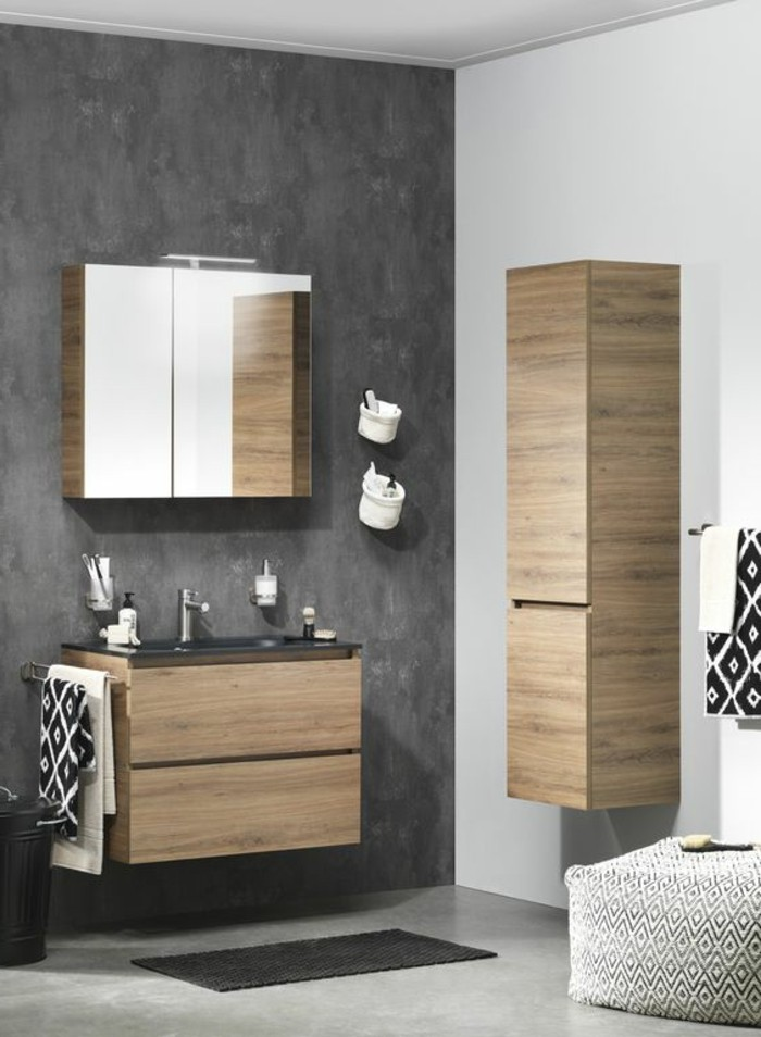 deco salle de bain grise et bois. Black Bedroom Furniture Sets. Home Design Ideas