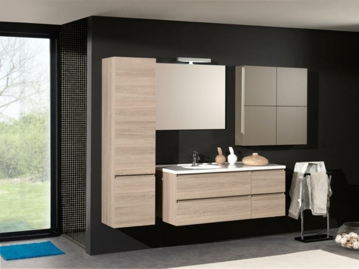 salle de bain noire et bois. Black Bedroom Furniture Sets. Home Design Ideas