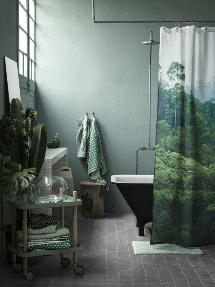 salle-de-bain-verte-sol-en-pavés-gris-baignoire-noire-mur-vert-clair-plante-verte-d-interieur