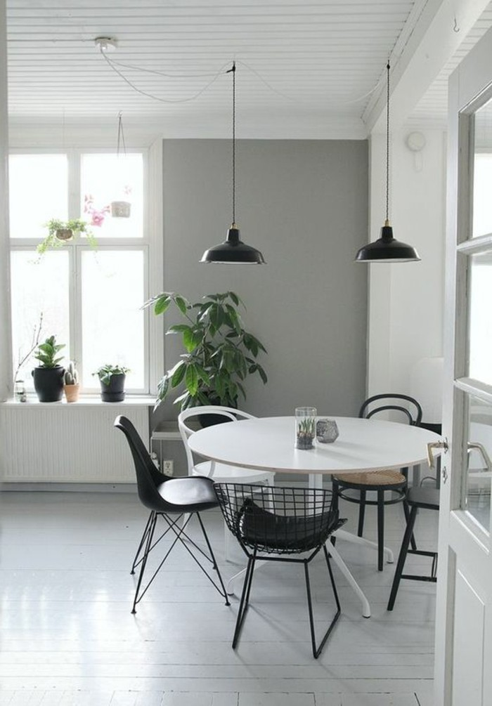 La plus originale table de cuisine ronde en 56 photos for Salle a manger noir et gris