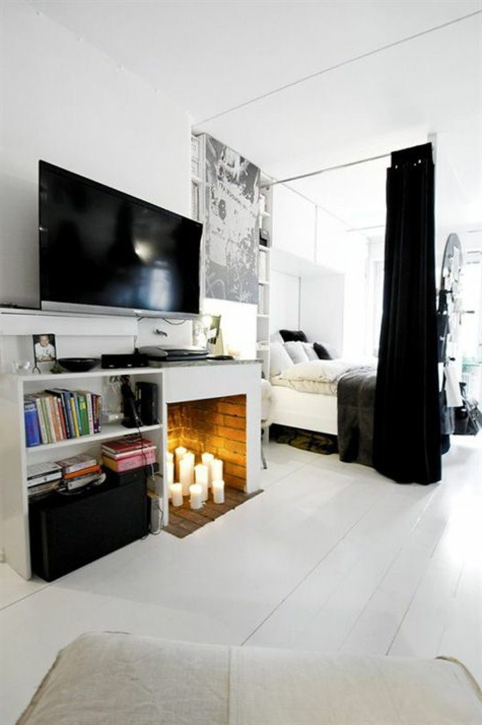 la s paration de pi ce amovible optez pour un rideau. Black Bedroom Furniture Sets. Home Design Ideas