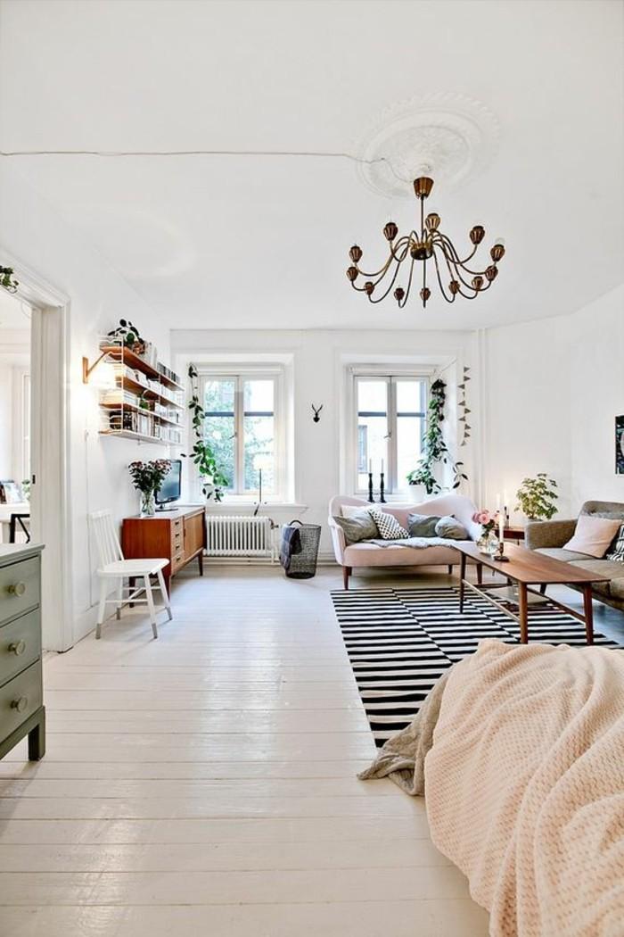 sol-en-parquet-blanc-tapis-blanc-noir-à-rayures-blancs-noirs-plafond-blanc-chambre-a-coucher-chic