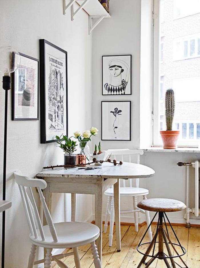 table a manger gain de place, intérieur style nordique