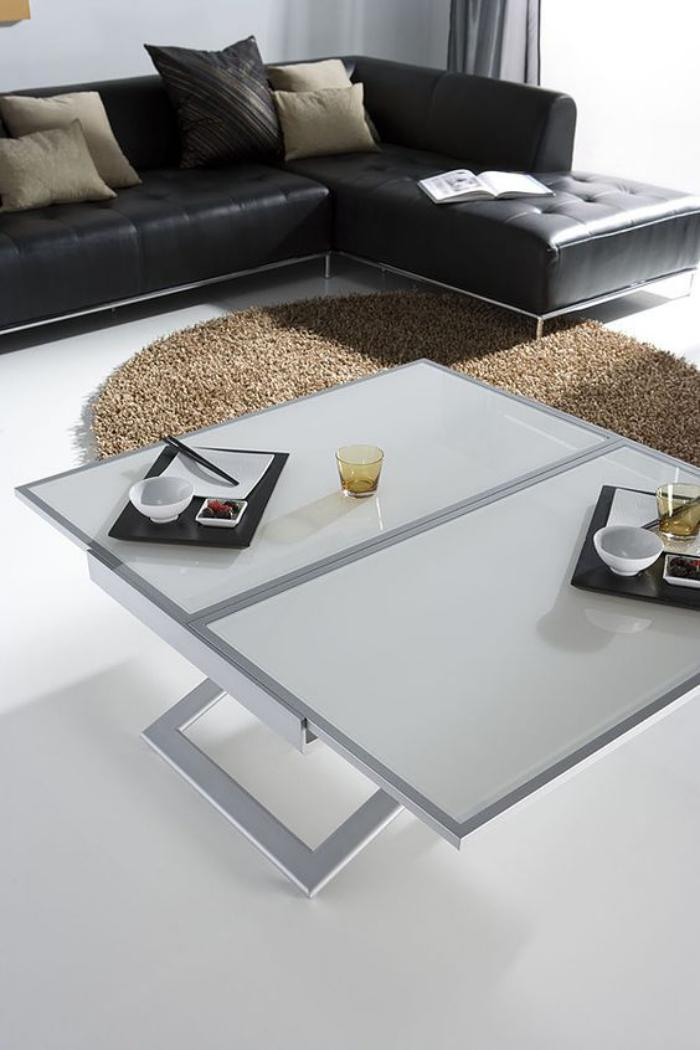 Table relevable et extensible maison design for Table gain de place conforama