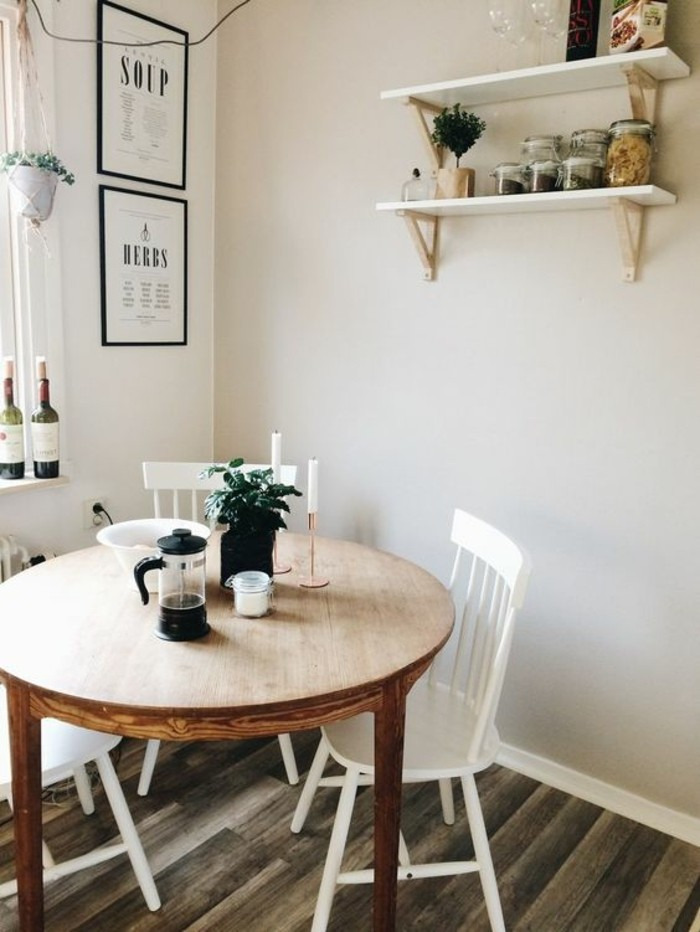 La plus originale table de cuisine ronde en 56 photos for Simple dining room designs for small spaces